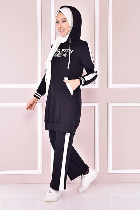 Modamerve Siyah Kapüşonlu Takım