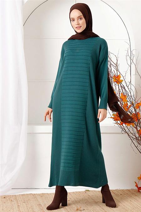 İnşirah Yeşil Çizgili Triko Elbise