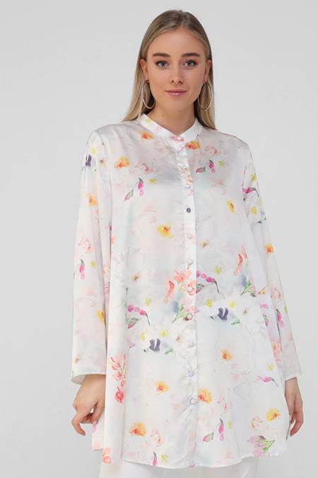 Alia Beyaz Büyük Beden Çiçek Desenli Tunik