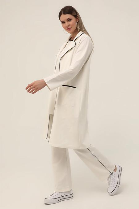 Alia Beyaz Siyah Büyük Beden Beli Lastikli Biye Detaylı Pantolon