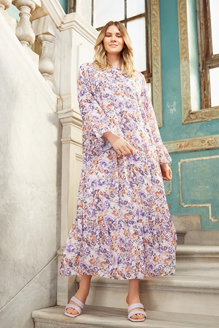 Alia Lila Büyük Beden Çiçek Desenli Şifon Elbise