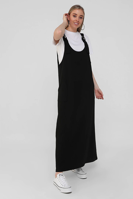 Alia Siyah Büyük Beden Askılı Spor Elbise