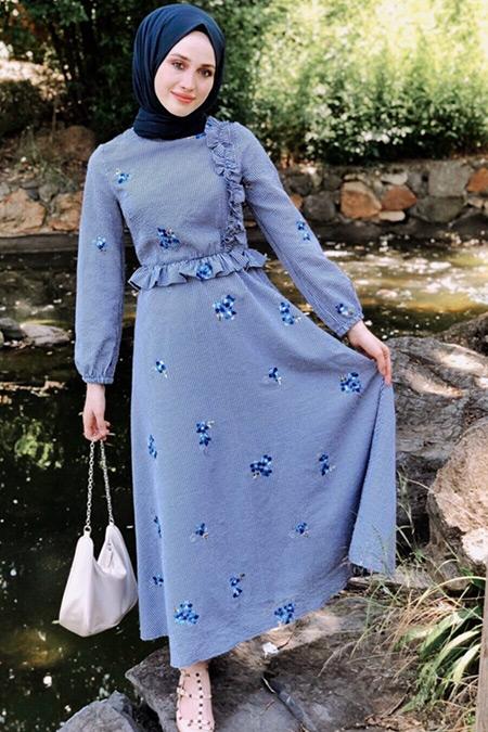 BRTC Design Mavi Çiçekli Miya Elbise