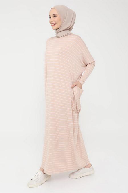 Refka Casual Badem Doğal Kumaşlı Rahat Kesim Elbise