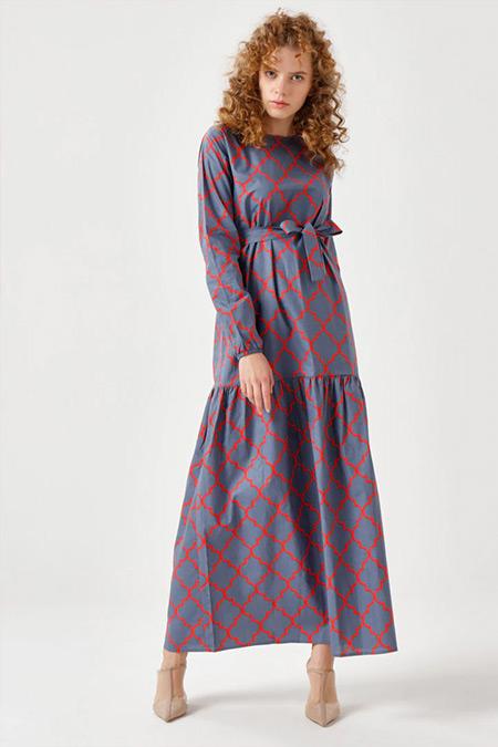 Ceylan Otantik Füme Petek Desen Yüksek Fırfır Elbise