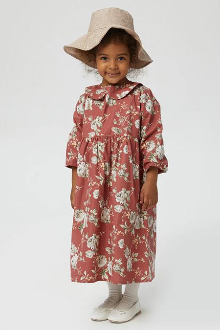 Ceylan Otantik Gül Kurusu Çiçekli Bebe Yaka Kız Çocuk Elbise