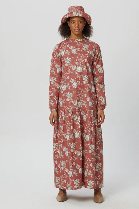 Ceylan Otantik Gül Kurusu Çiçekli Yüksek Fırfırlı Elbise