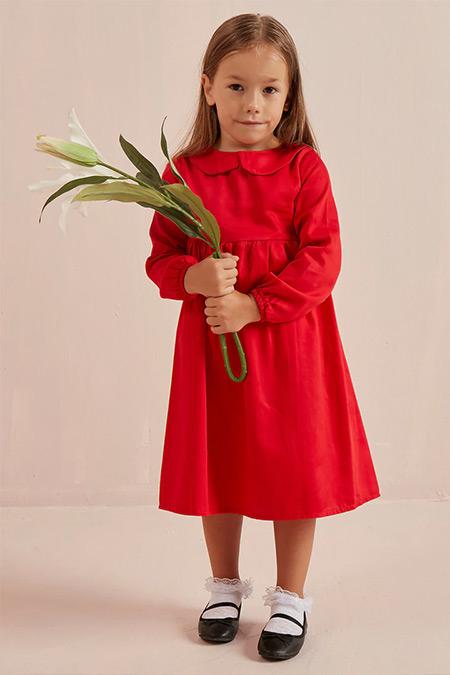 Ceylan Otantik Kırmızı Düz Renk Bebe Yaka Robalı Çocuk Elbise