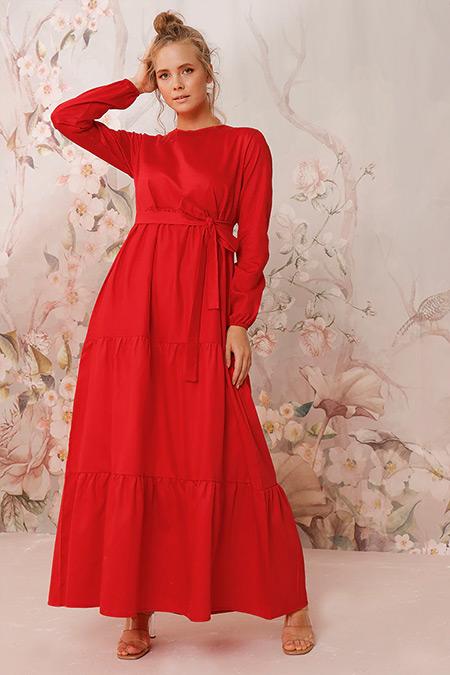 Ceylan Otantik Kırmızı Düz Renk Kat Kat Elbise