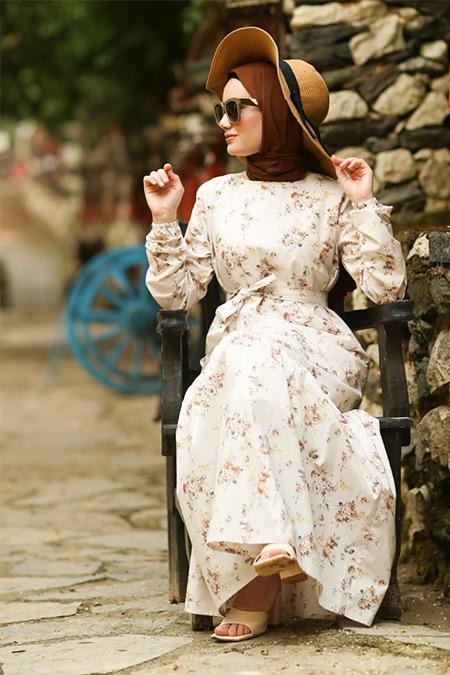 Ceylan Otantik Kahve Çiçek Desenli Fırfırlı Elbise