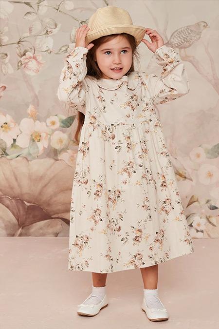 Ceylan Otantik Kahve Çiçekli Bebe Yaka Robalı Çocuk Elbise