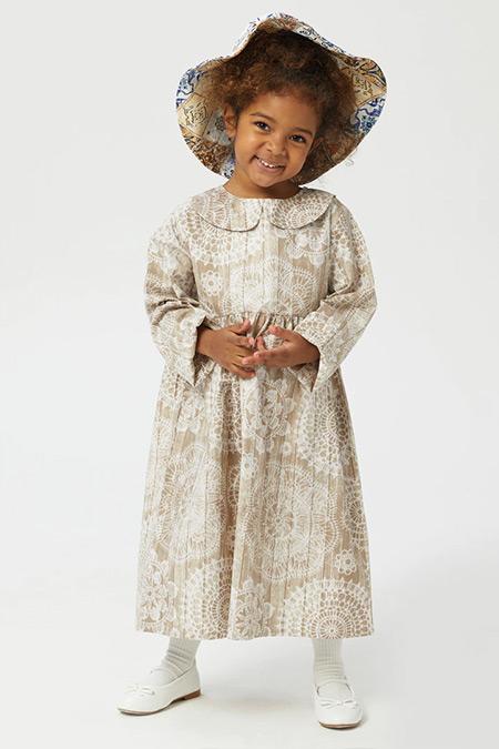 Ceylan Otantik Kahve Nakış Desenli Bebe Yaka Kız Çocuk Elbise