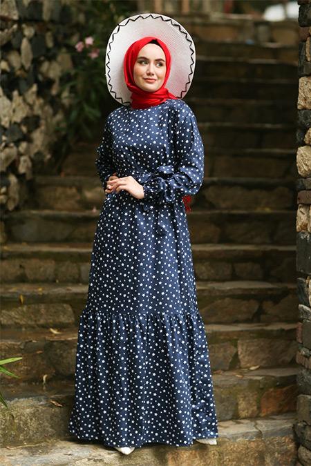 Ceylan Otantik Lacivert Yıldız Desenli Fırfırlı Elbise