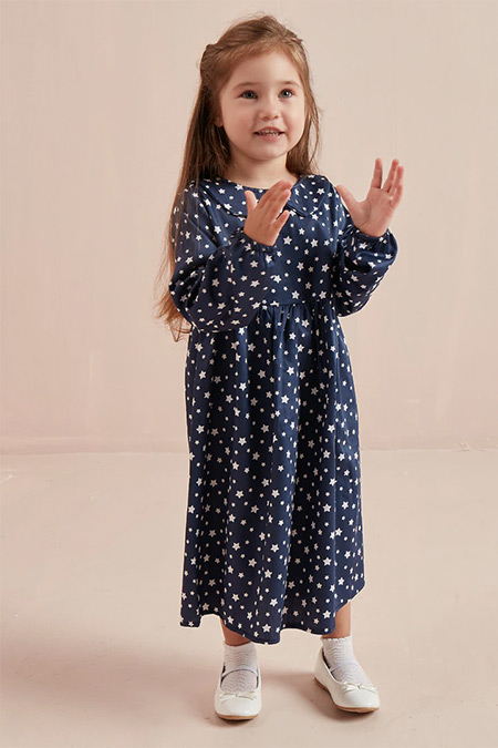 Ceylan Otantik Lacivert Yıldızlı Bebe Yaka Robalı Çocuk Elbise
