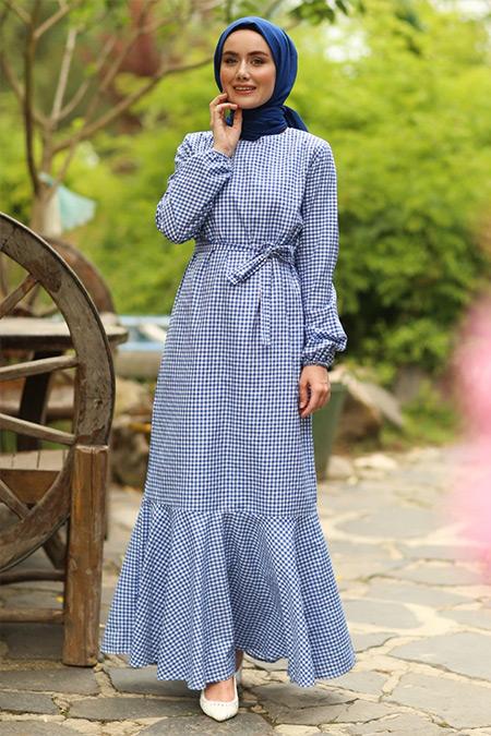 Ceylan Otantik Mavi Pötikareli Volanlı Elbise