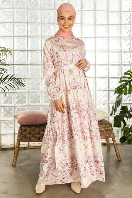 Ceylan Otantik Pembe Çiçek Desenli Elbise