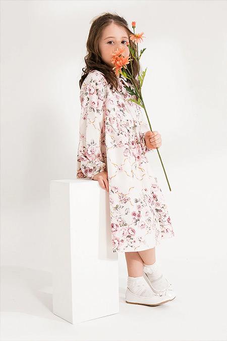 Ceylan Otantik Pembe Çiçekli Kız Çocuk Elbise