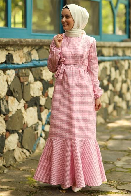 Ceylan Otantik Pembe Pötikareli Volanlı Elbise