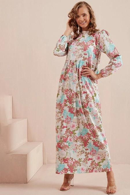 Ceylan Otantik Pembe Poplin Çiçekli Elbise