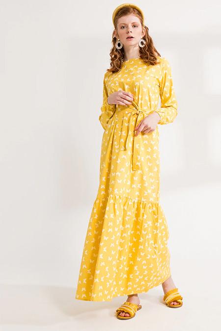 Ceylan Otantik Sarı Kelebek Desenli Fırfırlı Elbise