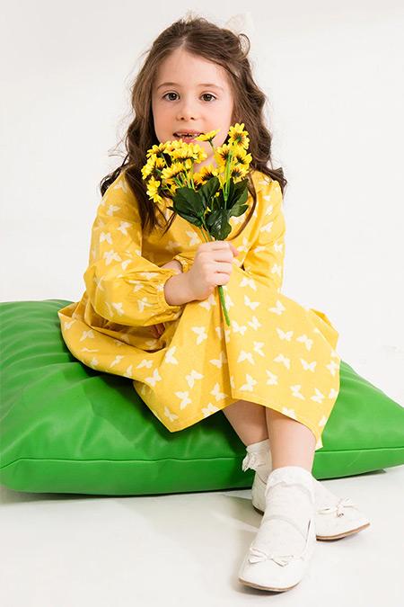 Ceylan Otantik Sarı Kelebekli Kız Çocuk Elbise