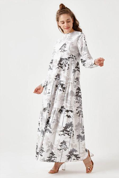 Ceylan Otantik Siyah Çam Desen Kat Kat Elbise