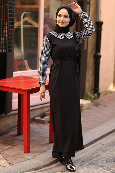Ceylan Otantik Siyah Bebe Yakalı Elbise