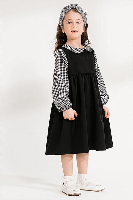 Ceylan Otantik Siyah Kız Çocuk Pötikare Detay Elbise
