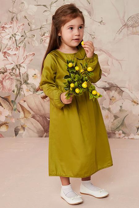Ceylan Otantik Yeşil Düz Renk Bebe Yaka Robalı Çocuk Elbise