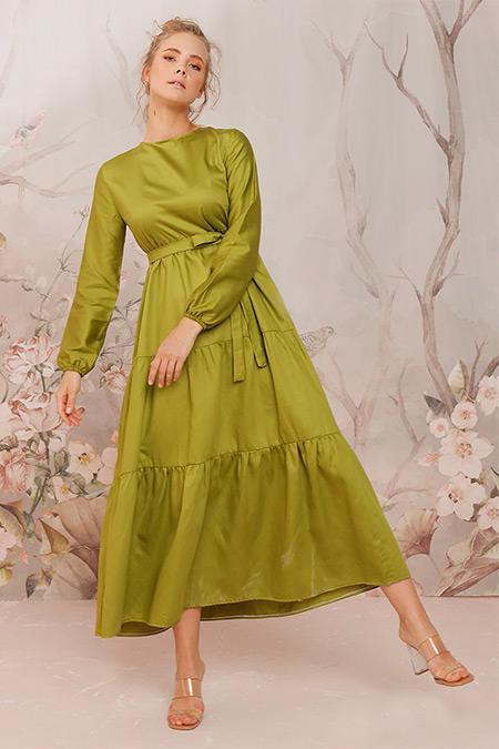 Ceylan Otantik Yeşil Düz Renk Kat Kat Elbise