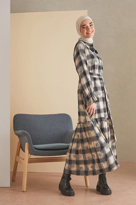 LOREEN İndigo Desenli Elbise