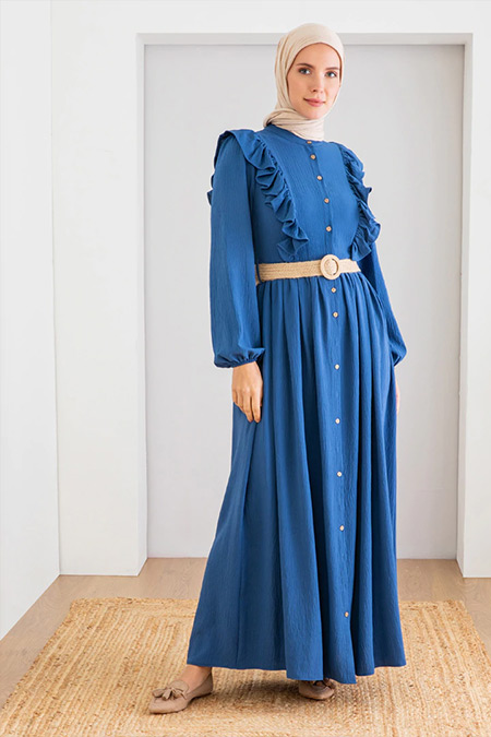 LOREEN İndigo Fırfır Detaylı Elbise