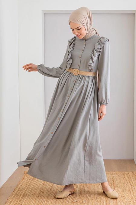 LOREEN Gri Fırfır Detaylı Elbise