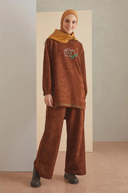 LOREEN Kahverengi Tunik&Pantolon İkili Takım