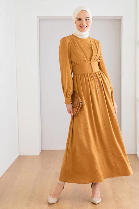 LOREEN Taba Düğme Detaylı Elbise
