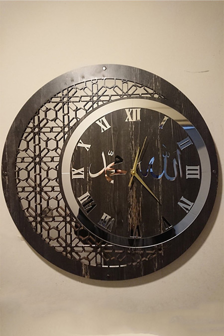 Lazerlimazerliişler 50 Cm Ahşap ve Ayna Allah-Muhammed Motifli Duvar Saati