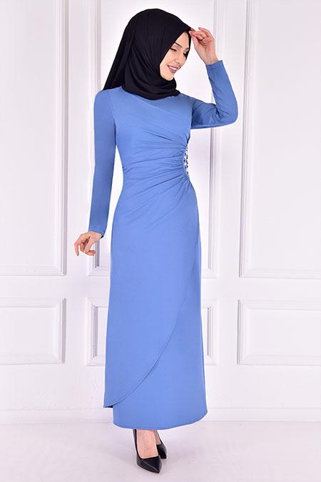 Modamerve Bebe Mavi Taşlı Elbise