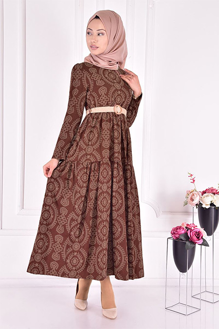 Modamerve Kahverengi Kemerli Elbise