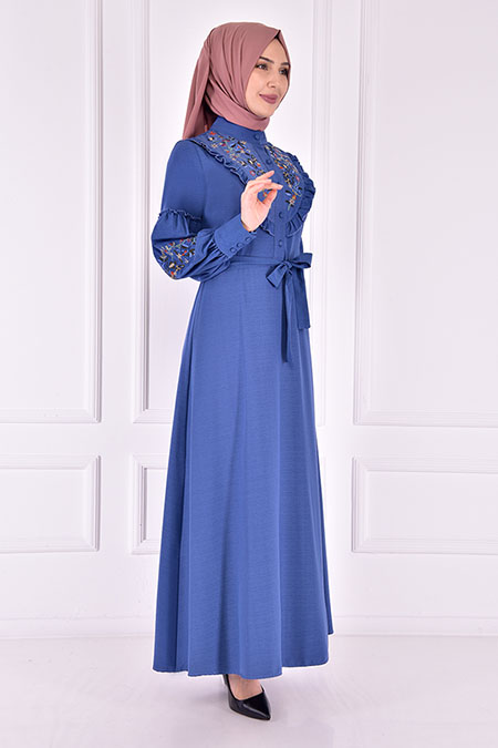 Modamerve Mavi Kuşaklı Elbise