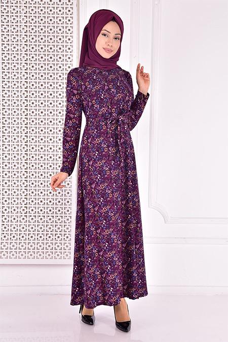 Modamerve Mor Desenli Elbise