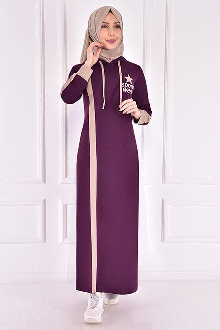 Modamerve Mor Kapüşonlu Elbise