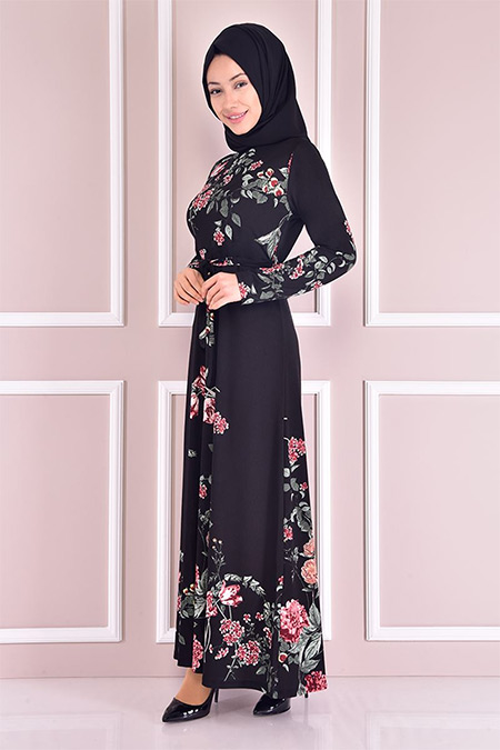 Modamerve Siyah Desenli Elbise