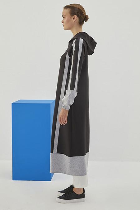 Qanu Siyah Dalgıç Penye Garnili Sweatshirt