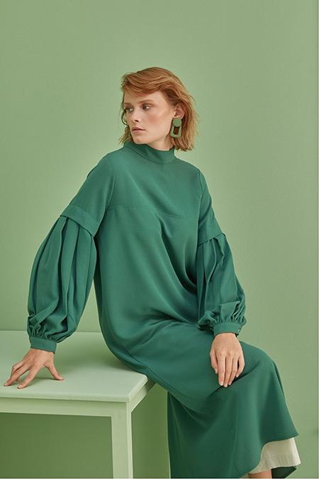 Qanu Yeşil Krep Tunik