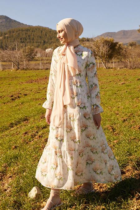 Refka Woman Beyaz Çiçekli Yakası Bağlamalı Şifon Rahat Kesim Elbise