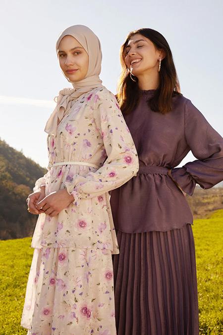 Refka Woman Pudra Pembe Çiçekli Şifon Kat Kat Çiçekli Elbise
