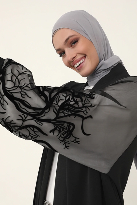 Refka Woman Siyah Kolları Tül Detaylı Ferace