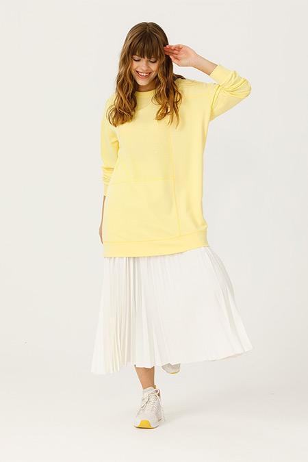SCL Sarı Dikiş Detaylı Sweatshirt Tunik