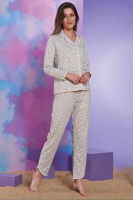 Sevim Gri Düğmeli Pijama Takım