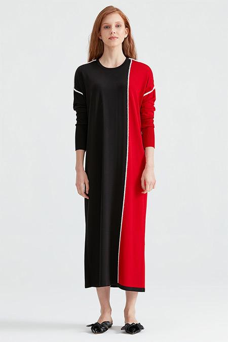 Tığ Triko Kırmızı Dio Bloklu Triko Elbise